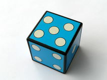 Five. Blue dice 5 on white background Stock Photography