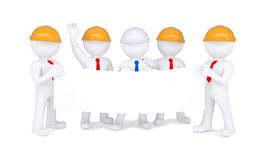 Five 3d little men in helmets holding white poster Stock Images
