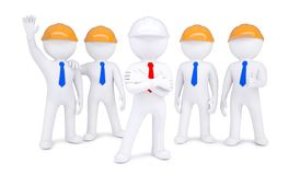 Five 3d men in hard hats Stock Photos