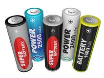 Five AA batteries Stock Image