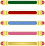 Five abstract blue red pink green colour banners with Golden metallic border and matching colour gemstone crystals stock illustration