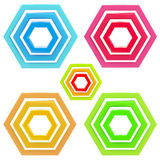 Five abstract emblem set made of glossy hexagons Royalty Free Stock Images
