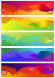 Five abstract halftone cards Stock Photo