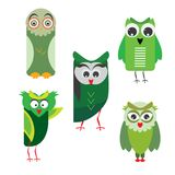 Five abstract owls isolated on white. Royalty Free Stock Photography