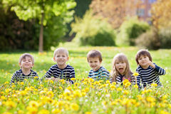 Five adorable kids, dressed in striped shirts, hugging and smili Royalty Free Stock Image