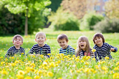 Five adorable kids, dressed in striped shirts, hugging and smili Royalty Free Stock Images