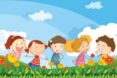 Five adorable kids playing at the garden vector illustration