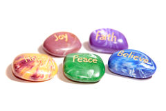 Five affirmation stones Royalty Free Stock Photo