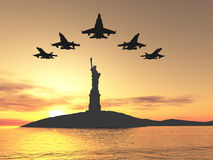 Five airplane. Five jets over statue of liberty Stock Photos