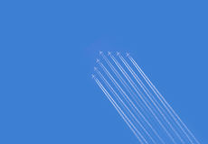 Five airplanes formation contrail Stock Photos