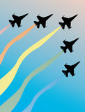 Five airplanes silhouettes in sky Stock Image