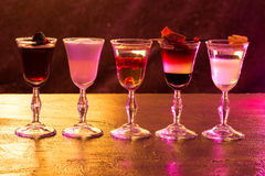 Five alcohol chots on the table. Club. Night life Stock Photo