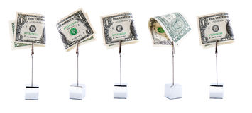 Five dollars in a row Royalty Free Stock Photos
