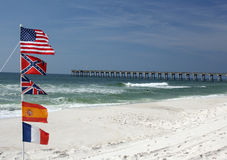 Five american flags on the beach Royalty Free Stock Images