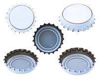 Isolated White Metal Caps Stock Image