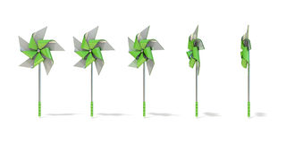 Five angles views of five sided pinwheel Stock Photos