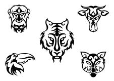 Five animal heads design. For varity use Stock Image
