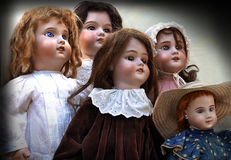 Five antique dolls Royalty Free Stock Photo