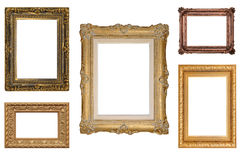 Five Antique Picture Frames. Collection of vintage picture frames, isolated on white Stock Photo