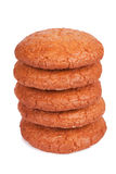 Five appetizing macaroons in pile Royalty Free Stock Image