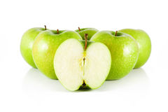 Five apple and half apple Royalty Free Stock Images