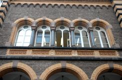 Five arched windows of a historic building in Bonn in Germany Stock Photography