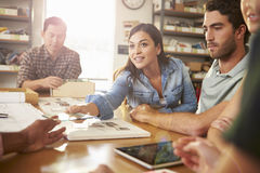 Five Architects Sitting Around Table Having Meeting Royalty Free Stock Photography