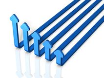 Five arrows skyrocket. It looks like a graph falling. 3D illustration Stock Photos