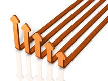 Five arrows skyrocket. It looks like a graph falling. 3D illustration Royalty Free Stock Images