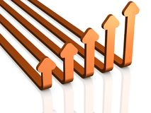Five arrows skyrocket. It looks like a graph rising. 3D illustration Royalty Free Stock Photo