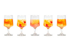 Five Assorted Fruit Cocktails Stock Photo