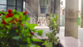 Five attractive business women walking in the city. Five attractive business women with shopping bags walking near business centre. Summer day. Color grading stock video