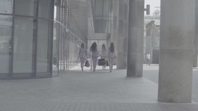 Five attractive business women walking in the city. Rear view. Five attractive business women with shopping bags walking near business centre. Summer day. No stock video footage