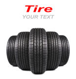 Five automobile black rubber tires isolated on white Stock Photos
