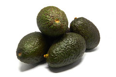 Five Avocados isolated on a white background Stock Image