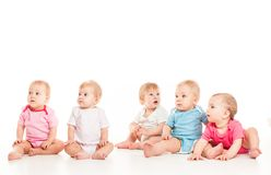 Five babies isolated Royalty Free Stock Photo