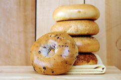 Five bagels and napkin Royalty Free Stock Photography