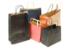 Five bags to shop. Collection of bags with many colors Royalty Free Stock Images