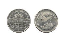 Five Baht Thailand coins. Royalty Free Stock Photos