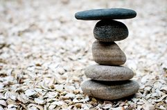 Five balanced rocks stacked together Royalty Free Stock Photo