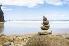 Five balanced rocks stacked together Stock Photos