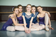 Five ballerinas Stock Images