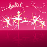 Five ballet dancers on stage. Set of dynamic doodle ballet dancers on a stage Stock Image