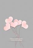 Five balloon hearts valentine`s day Royalty Free Stock Photos