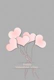 Five balloon hearts valentine`s day Stock Photo