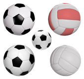 Five balls collection isolated with clipping path. Three soccer and two volleyball Royalty Free Stock Photos