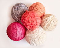 Five balls of colored yarn Stock Image