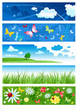 Five banners of summertime stock illustration