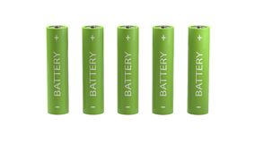 Five batteries isolated on white background Royalty Free Stock Photo