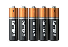 Five batteries of the type AAA in a single row isolated on a white background. 3d render Stock Image